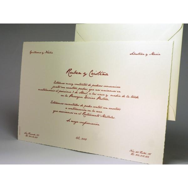 Invitación tarjetón pergamino